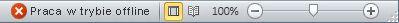 Pasek stanu programu Outlook ze stanem Praca w trybie offline