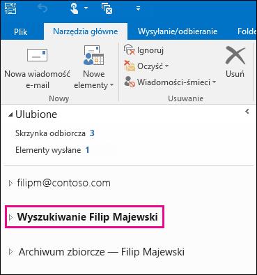 Plik PST widoczny na lewym pasku nawigacji w programie Outlook