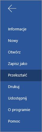 Przycisk Przekształć umożliwiający przekonwertowanie dokumentów aplikacji Word Online na swaye