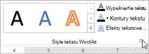 Wybieranie Uruchom okno dialogowe Style tekstu WordArt