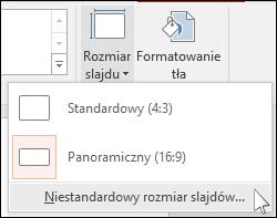 Na karcie Wstążki Projektowanie wybierz pozycję Rozmiar slajdu, a następnie wybierz pozycję Niestandardowy rozmiar slajdów.