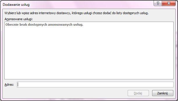 Zrzut ekranu przedstawiający pole Dodaj usługi w oknie Opcje poszukiwania