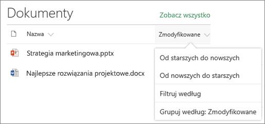 Dokument sieci web part przedstawiający sortowania, filtrowania i menu Grupa biblioteki