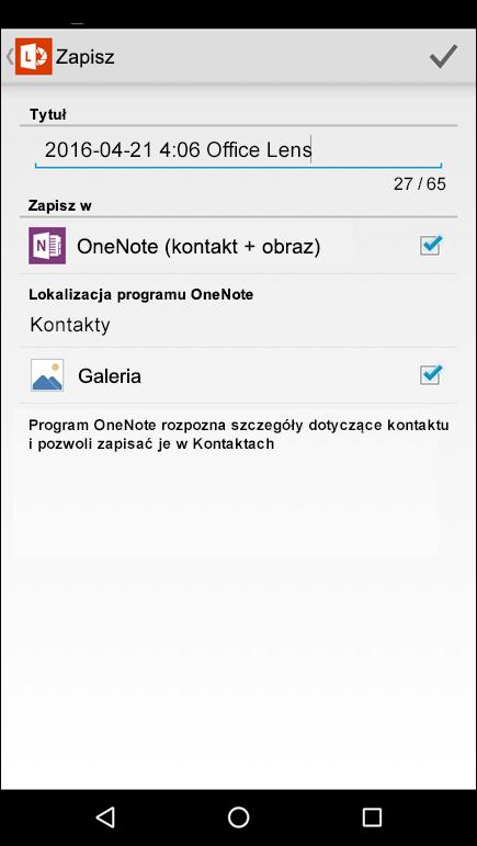 Zrzut ekranu: funkcja eksportowania do kontaktów w aplikacji Office Lens dla systemu Android.