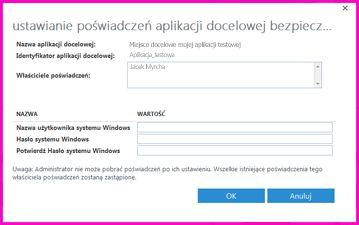 """Zrzut ekranu z oknem dialogowym """"Ustawianie poświadczeń aplikacji docelowej bezpiecznego magazynu"""", w którym można ustawić poświadczenia logowania dla zewnętrznego źródła danych."""