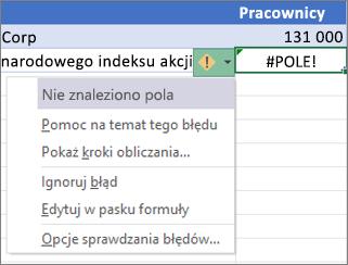 Ignorowanie błędu #POLE!