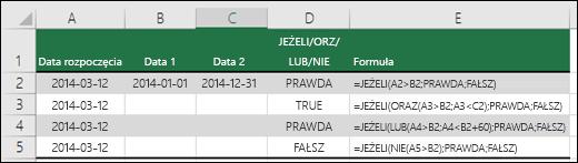 Przykłady użycia funkcji JEŻELI z funkcjami ORAZ, LUB i NIE do szacowania dat