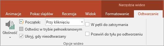 Pole wyboru Ukryj, gdy nieodtwarzany w obszarze Narzędzia wideo w programie PowerPoint