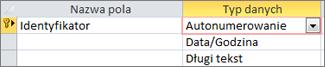 Klucz podstawowy Autonumerowanie oznaczony jako identyfikator w tabeli programu Access w widoku projektu