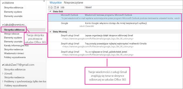 Po zaimportowaniu wiadomości e-mail do skrzynki pocztowej usługi Office 365 pojawią się one w dwóch miejscach.