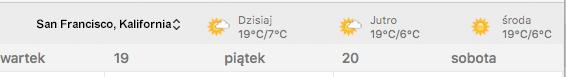 Lokalizacja pogody w kalendarzu