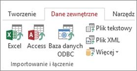 Karta Dane zewnętrzne programu Access