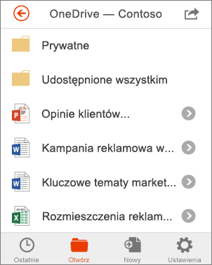 Pliki usługi OneDrive w pakiecie Office Mobile