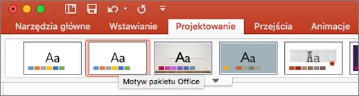 Zrzut ekranu przedstawiający pozycję Motyw pakietu Office na karcie Projektowanie