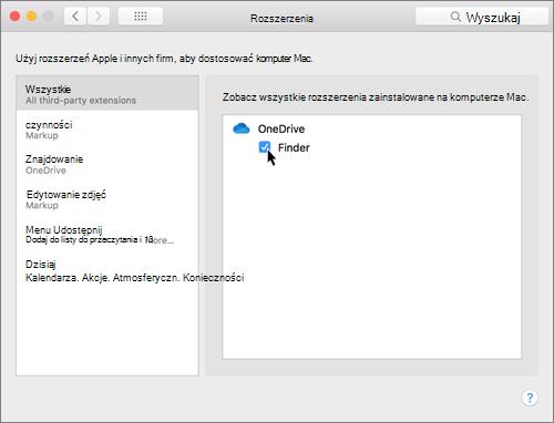 Zrzut ekranu przedstawiający Rozszerzenia w preferencjach systemu na komputerze Mac