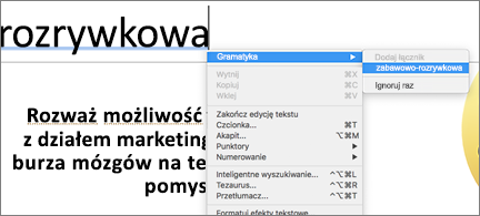 Wyrazy podkreślone kolorem niebieskim z menu podręcznym przedstawiającym propozycje dotyczące gramatyki