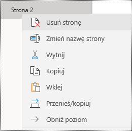 Usuwanie strony w aplikacji OneNote dla systemu Windows 10