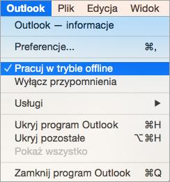 Pokazuje menu programu Outlook jest zaznaczona opcja Praca w trybie Offline
