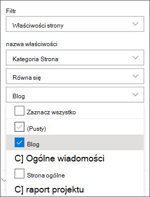 Filtr ustawiony na blogi w okienku składnika Web Part wiadomości
