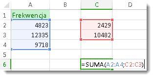 Używanie funkcji SUMA z dwoma zakresami liczb
