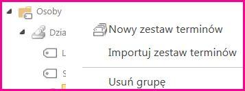 W narzędziu do zarządzania magazynami terminów można wybierać elementy w okienku nawigacji w celu otwarcia menu