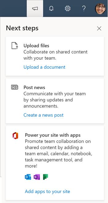 Obraz panelu następne kroki w przypadku zespołów, które nie mają połączenia z grupą usługi Office 365