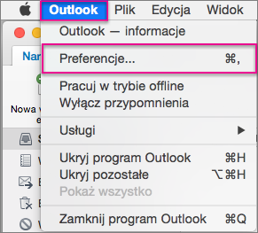 Menu programu Outlook > Preferencje