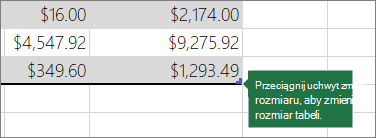 Przeciągnij uchwyt zmiany rozmiaru, aby zmienić rozmiar tabeli