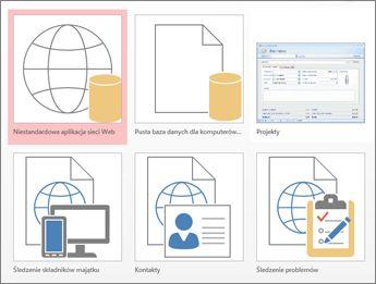 Widok szablonów na ekranie uruchamiania w programie Access