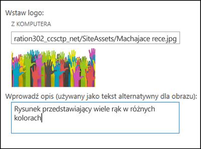 Okno dialogowe tytułu i logo nowej witryny w usłudze SharePoint Online umożliwiające utworzenie tekstu alternatywnego dla obrazu logo