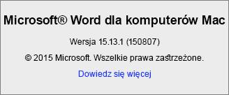 Zrzut ekranu przedstawiający stronę Word — informacje w programie Word dla komputerów Mac