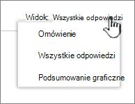 Ankiety menu rozwijane widok z wyróżnioną strzałką w dół