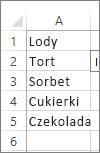 Lista wartości do użycia w polu kombi