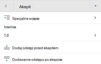 Menu Formatowanie akapitu w programie Word dla systemu Android