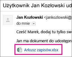 Wiadomość e-mail z zaproszeniem adresata do udostępnienia dokumentu
