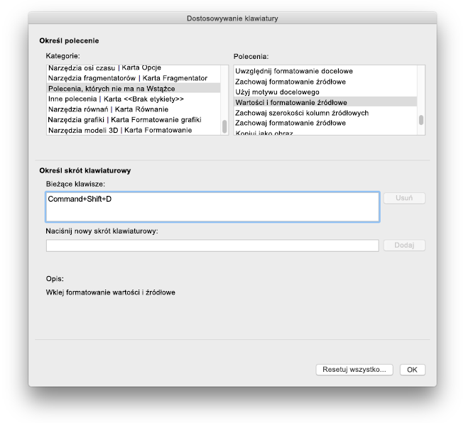 Dostosowania klawiatury programu Excel dla komputerów Mac