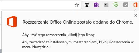 Chrome powiadamia pomyślnym dodaniu rozszerzenia Office Online