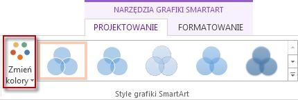 Opcja Zmień kolory w grupie Style grafiki SmartArt