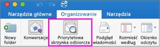 Przycisk Priorytetowa skrzynka odbiorcza na karcie wstążki Organizowanie