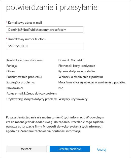 Potwierdzanie i przesyłanie strony w formularzu żądania usługi Office 365 administrator Centrum usług.