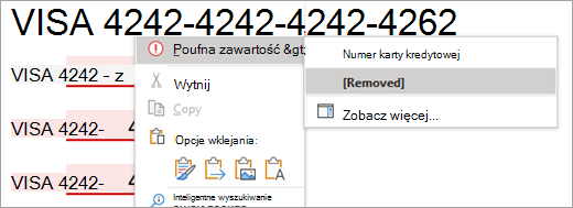 Zrzut ekranu przedstawiający wyróżnioną zawartość poufną w programie Word