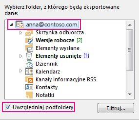 Okno dialogowe Eksportowanie pliku danych programu Outlook z zaznaczonym pierwszym folderem i zaznaczoną opcją Uwzględnij podfoldery