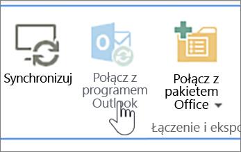 Wstążka z wyłączonym przycisk Połącz z programu outlook z nim wyróżnione