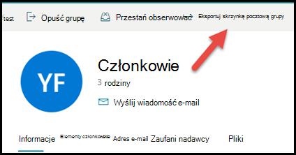 Karta grupy w programie Outlook.com ze strzałką wskazującą w górę i w prawo, aby wyeksportować skrzynkę pocztową grupy.