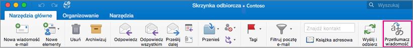 Przycisk Przetłumacz na wstążce programu Outlook dla komputerów Mac