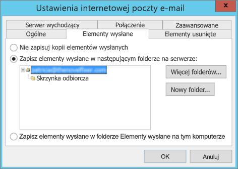 Wybieranie folderu na karcie Elementy wysłane