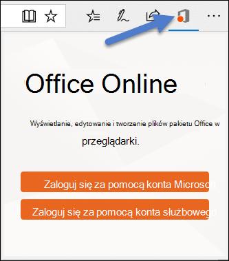 Okno dialogowe logowania w celu rozszerzenia Office Online w krawędzi