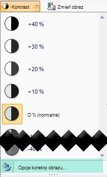 Aby precyzyjnie dostosować kontrast, wybierz pozycję Opcje korekty obrazu