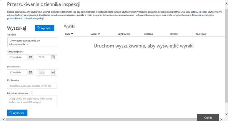 Przefiltrowany raport aktywności usługi Office 365 na potrzeby tworzenia zaproszenia
