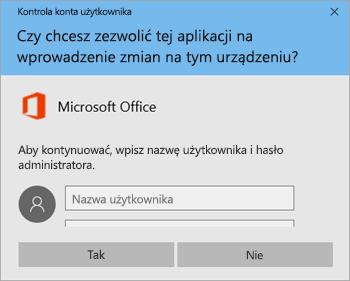 Zrzut ekranu przedstawiający okno Kontrola konta użytkownika